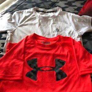 Under Armour &adidas: 2 Boys Short Sleeve Shirts